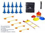 Coordination Set- Speed Ladder 6m, Disc Cones, Cones, Gym Bag, Pump