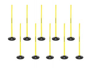 Set 10x 1m Poles + 10 x Base for Slalom Poles